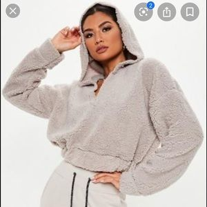 Missguided fizzy v front hoodie in grey